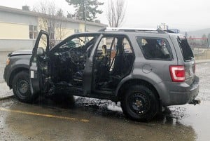 The vehicle after Cranbrook Fire and Emergency Services extinguished the fire. RCMP Photo